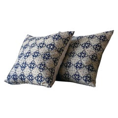Antique Indonesian Cotton Navy and Natural Pillow