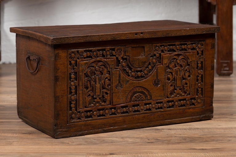 Antique Indonesian Decorative Wooden Box with Carved Flowers and Architecture For Sale 6