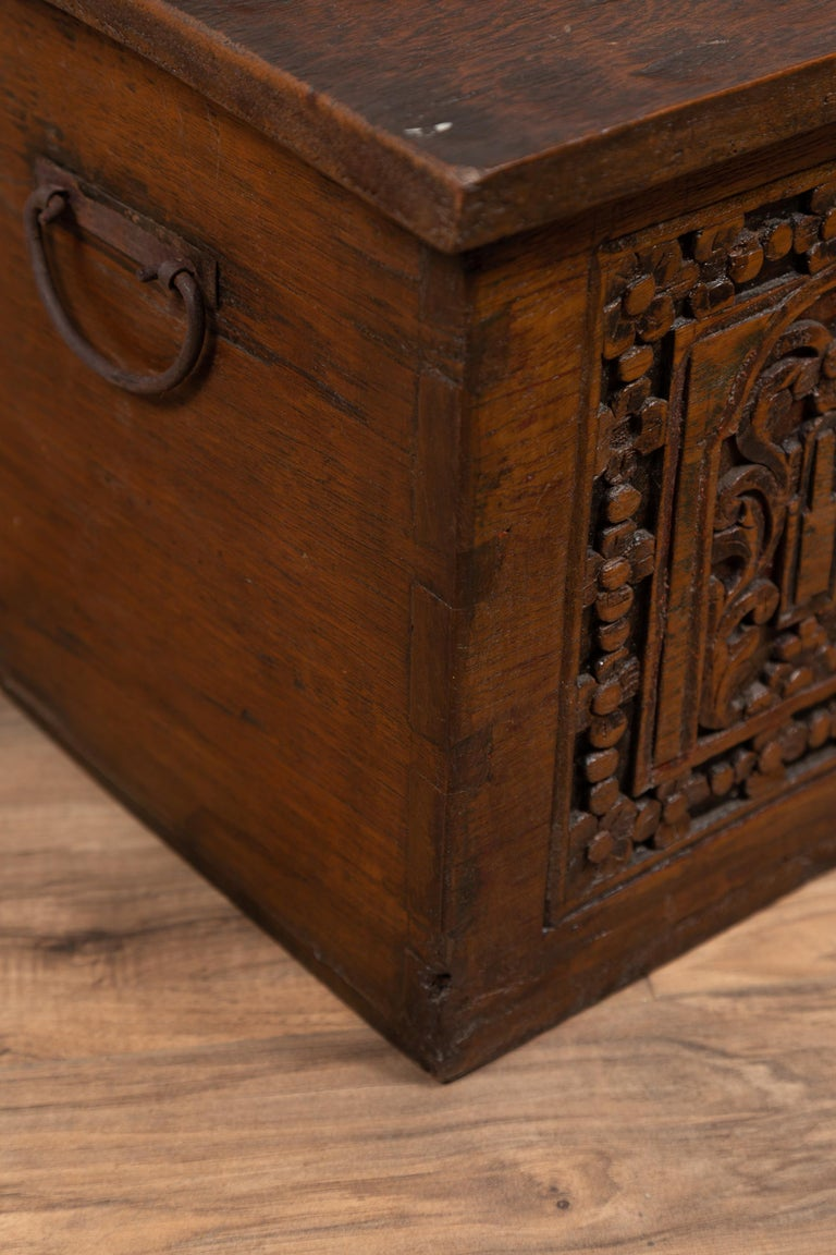 Antique Indonesian Decorative Wooden Box with Carved Flowers and Architecture For Sale 8