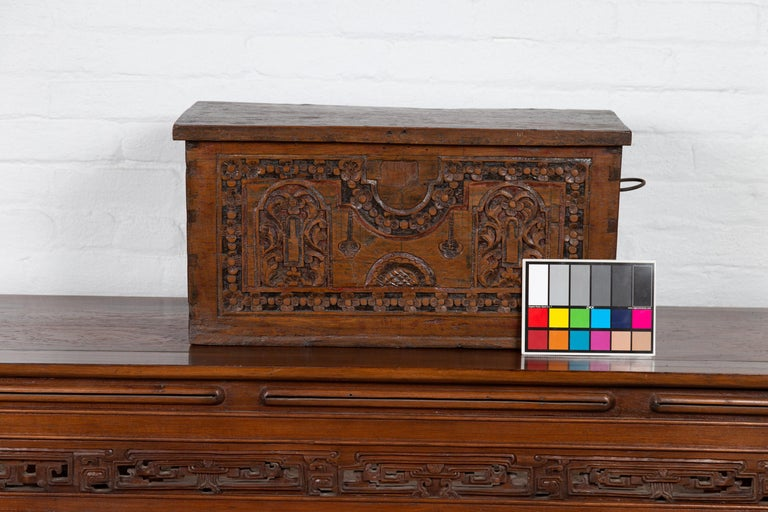Antique Indonesian Decorative Wooden Box with Carved Flowers and Architecture For Sale 10