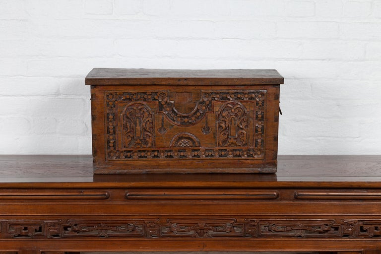 Antique Indonesian Decorative Wooden Box with Carved Flowers and Architecture In Good Condition For Sale In Yonkers, NY