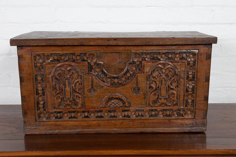 20th Century Antique Indonesian Decorative Wooden Box with Carved Flowers and Architecture For Sale