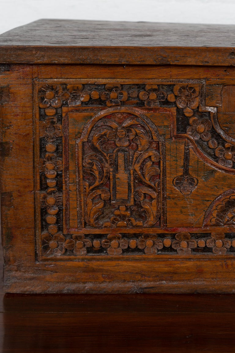 Antique Indonesian Decorative Wooden Box with Carved Flowers and Architecture For Sale 1
