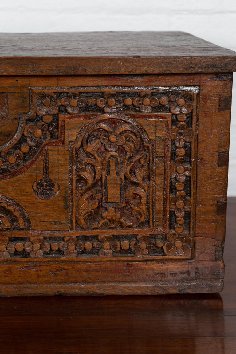 Antique Indonesian Decorative Wooden Box with Carved Flowers and Architecture For Sale 2