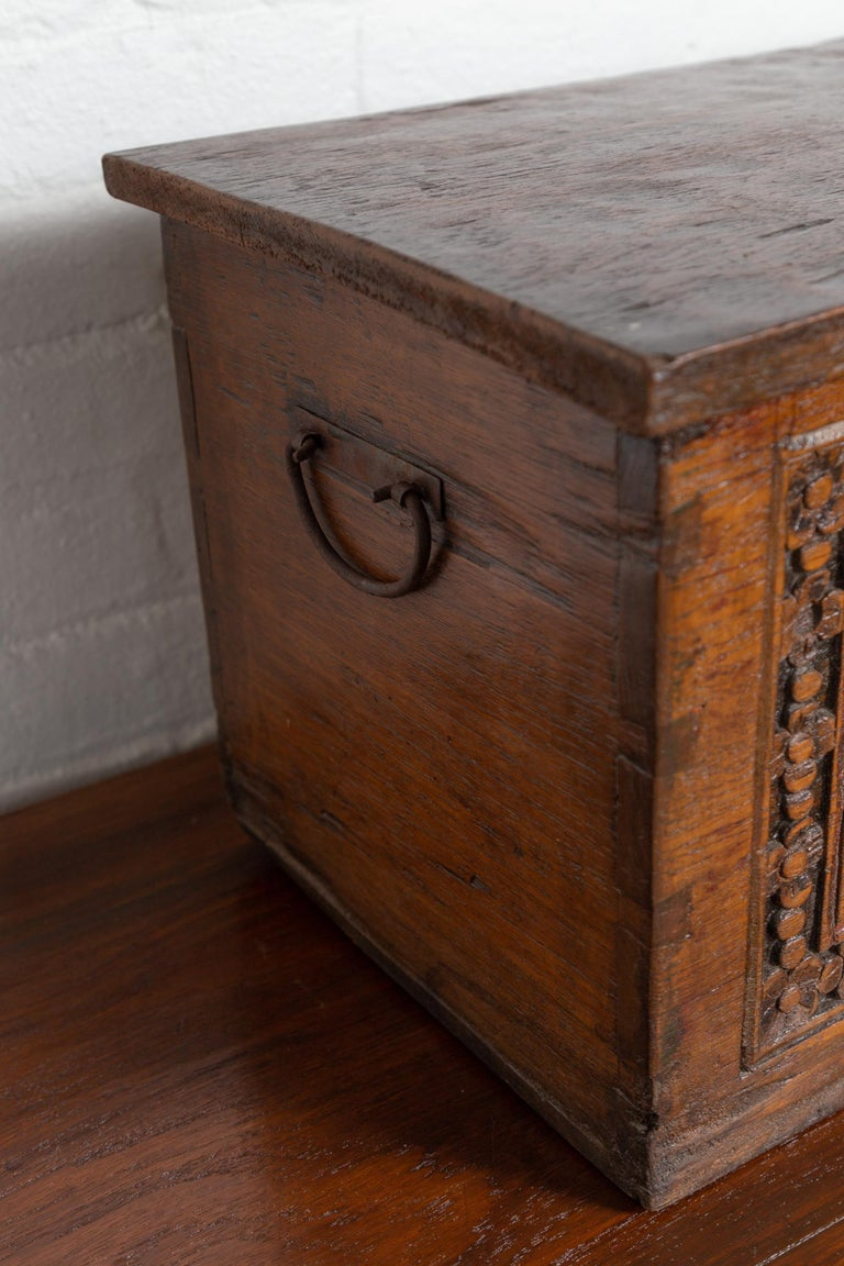 Antique Indonesian Decorative Wooden Box with Carved Flowers and Architecture For Sale 3