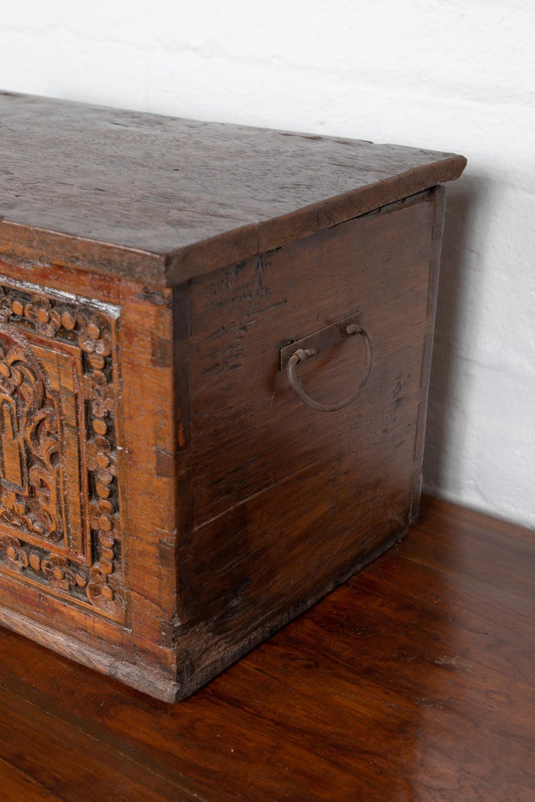 Antique Indonesian Decorative Wooden Box with Carved Flowers and Architecture For Sale 4