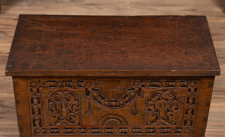Antique Indonesian Decorative Wooden Box with Carved Flowers and Architecture For Sale 5