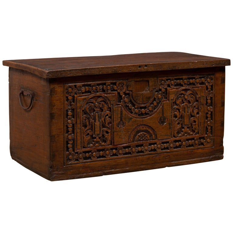 Antique Indonesian Decorative Wooden Box with Carved Flowers and Architecture For Sale