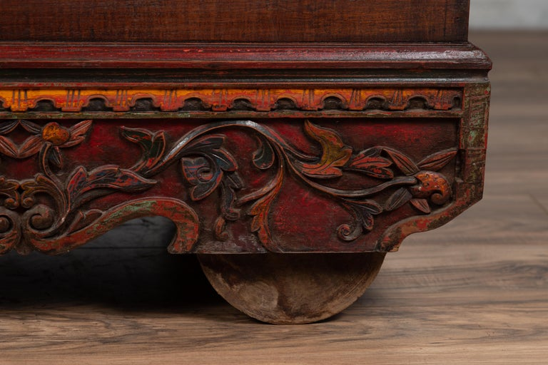 Antique Hand carved Teak wheel from Indonesia.