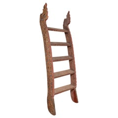 Indonesian Painted and Hand Carved Ladder with Colorful Glass Inlay