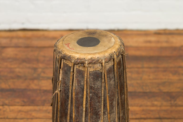 19th Century Antique Indonesian Slender Freestanding Wooden Drum with Leather Drumhead For Sale