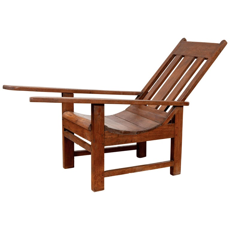 Antique Indonesian Teak Plantation Lounge Chair from Madura with Slanted  Back