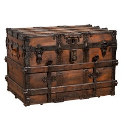 Antique Indonesian Travel Treasure Chest with Brown Patina and Leather Details