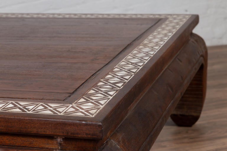 Antique Indonesian Tribal Design Coffee Table with White X-Form Motifs For Sale 11