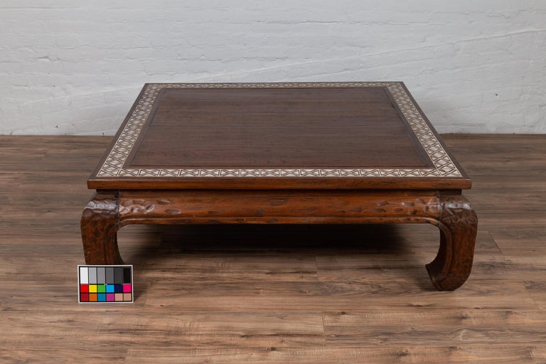 Antique Indonesian Tribal Design Coffee Table with White X-Form Motifs For Sale 12