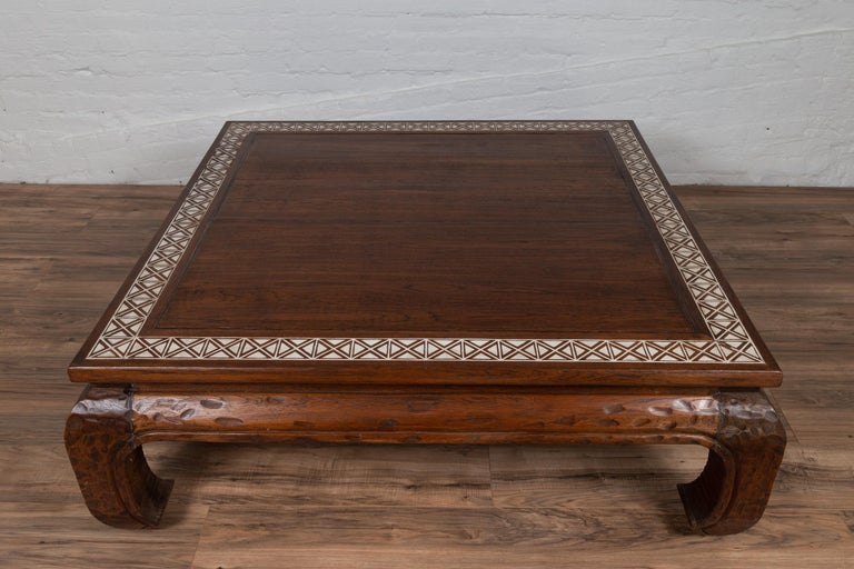 Teak Antique Indonesian Tribal Design Coffee Table with White X-Form Motifs For Sale