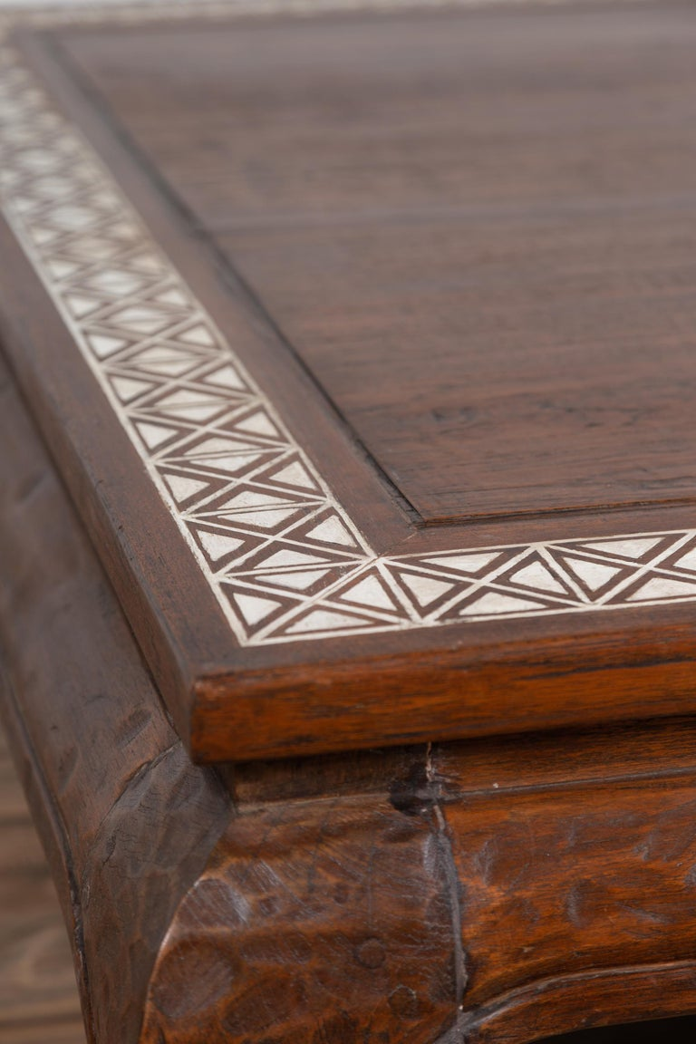 Antique Indonesian Tribal Design Coffee Table with White X-Form Motifs For Sale 3