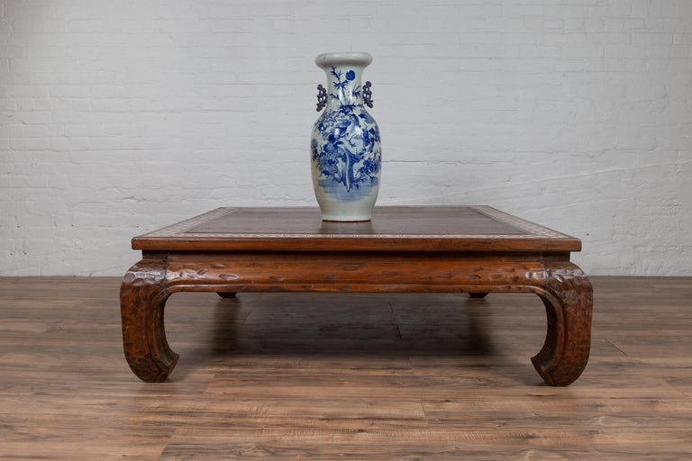 Antique Indonesian Tribal Design Coffee Table with White X-Form Motifs For Sale 4