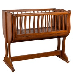 Antique Indonesian Wooden Baby Cradle Transforming into a Loveseat