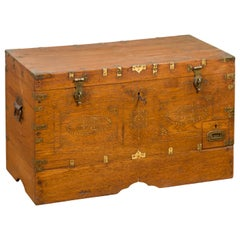 Antique Indonesian Wooden Compartmented Wedding Chest with Brass Accents