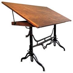 Antique Industrial Adjustable Drafting Table by J.G. & J.N. Alexander