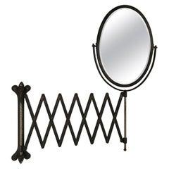 Antique Industrial Age Oval Bronze Toned Scissor Accordion Wall Mount Mirror
