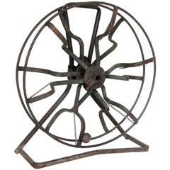 Antique Industrial Americana Iron Fire Hose Reel