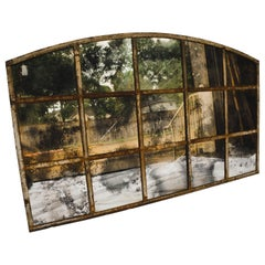 Antique Industrial Arched Window with Antiqued Mirror