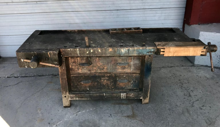 American Antique Industrial Carpenters Workbench, 2 Vises, 2 Drawers, Amazing Patina