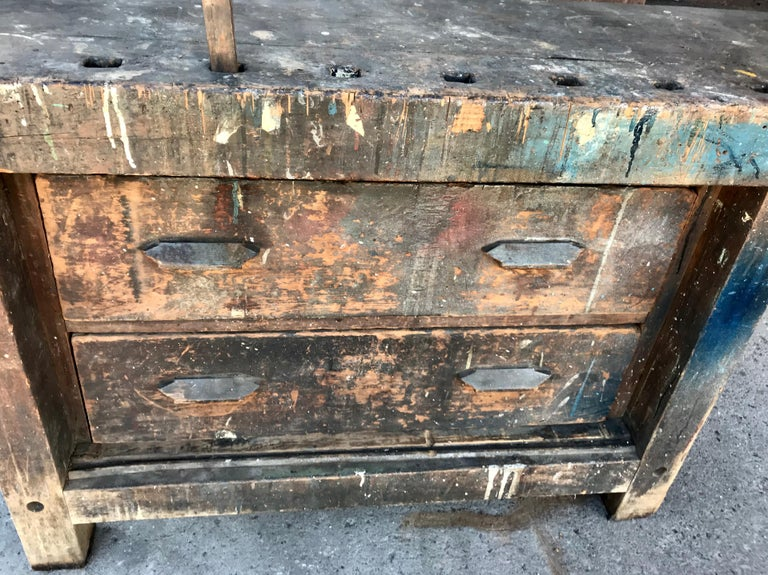 Wood Antique Industrial Carpenters Workbench, 2 Vises, 2 Drawers, Amazing Patina