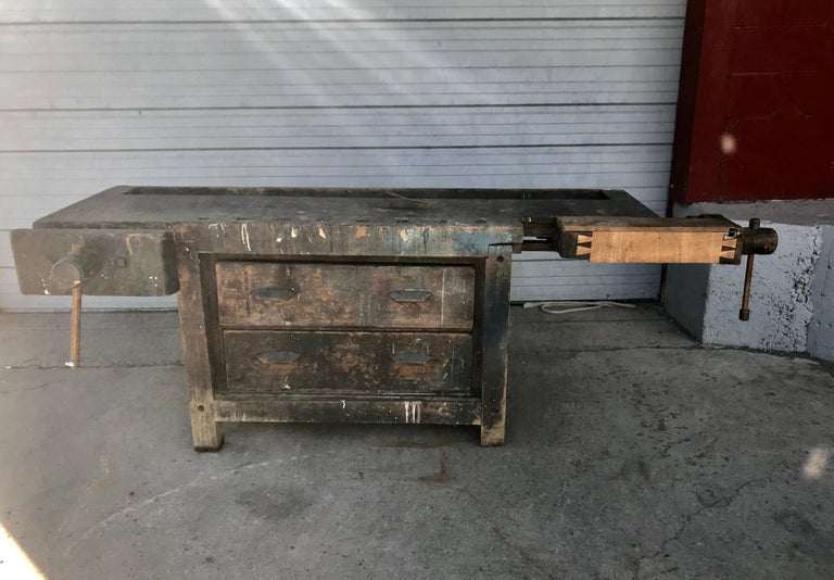 Antique Industrial Carpenters Workbench, 2 Vises, 2 Drawers, Amazing Patina 1