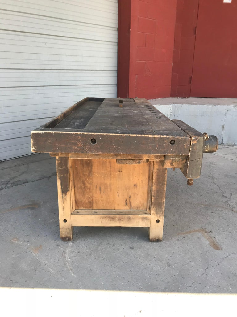 Antique Industrial Carpenters Workbench, 2 Vises, 2 Drawers, Amazing Patina 2