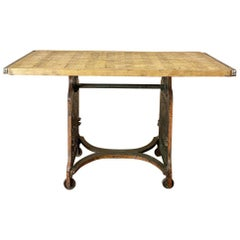 Antique Industrial Cast Iron and Brick Pallet Work Table