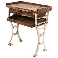 Antique Industrial Cast Iron Leg Workbench
