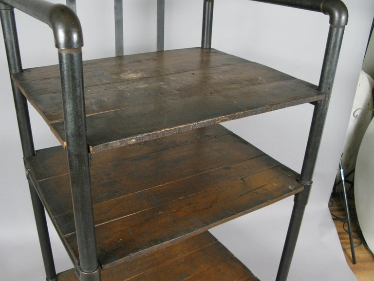 American Antique Industrial Cast Iron Rolling Cart Bookcase For Sale