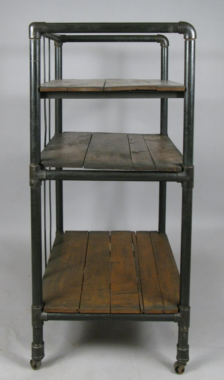 Antique Industrial Cast Iron Rolling Cart Bookcase For Sale 1