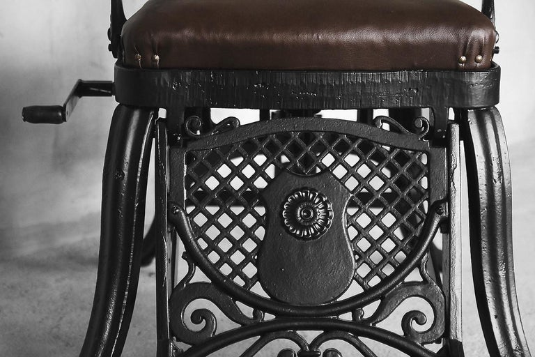 Antique Industrial Empire Openwork Adjustable Barber's Chair, 1900s For Sale 5