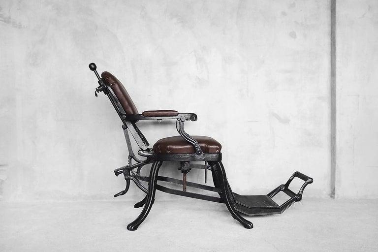 Antique Industrial Empire Openwork Adjustable Barber's Chair, 1900s For Sale 6