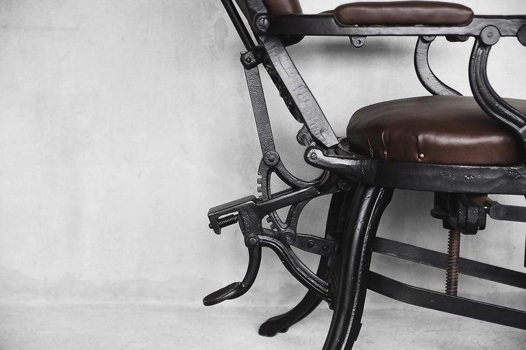 Antique Industrial Empire Openwork Adjustable Barber's Chair, 1900s For Sale 7