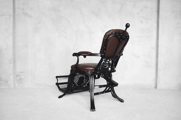 Antique Industrial Empire Openwork Adjustable Barber's Chair, 1900s For Sale 10