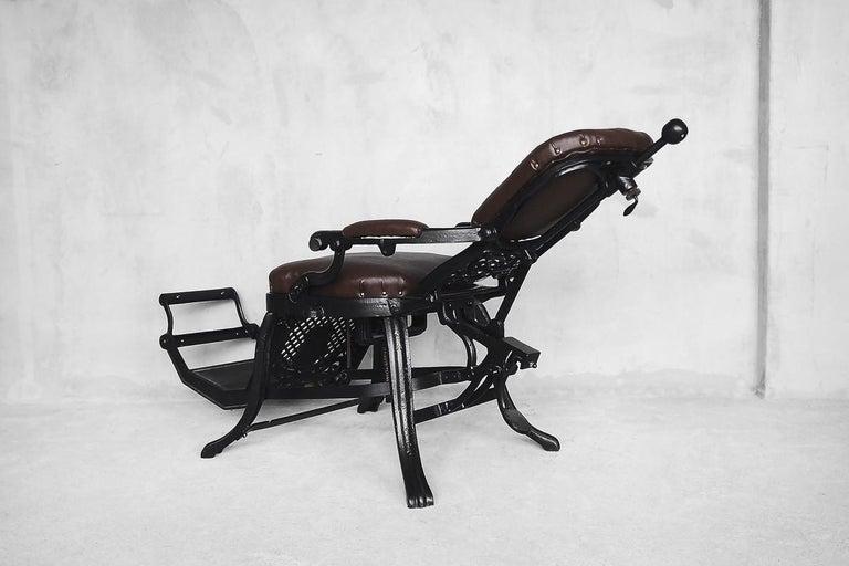 Antique Industrial Empire Openwork Adjustable Barber's Chair, 1900s For Sale 11