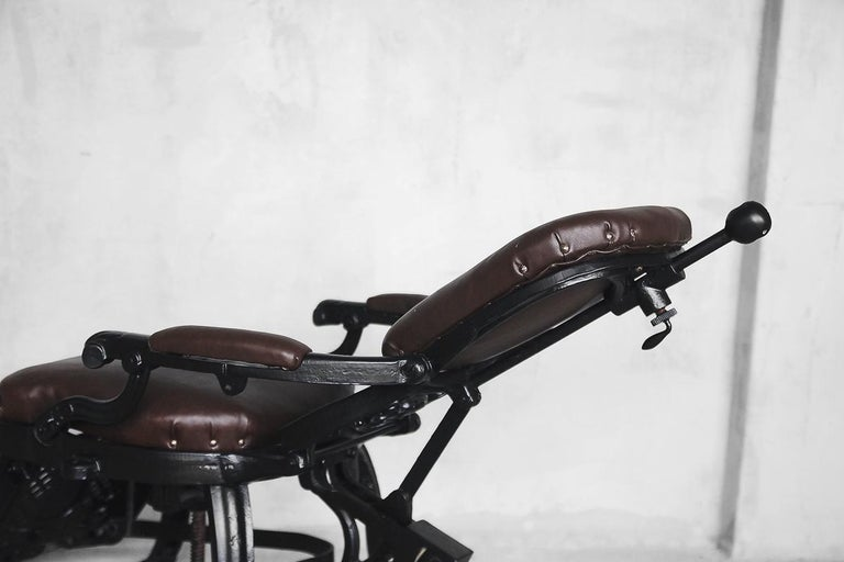 Antique Industrial Empire Openwork Adjustable Barber's Chair, 1900s For Sale 12