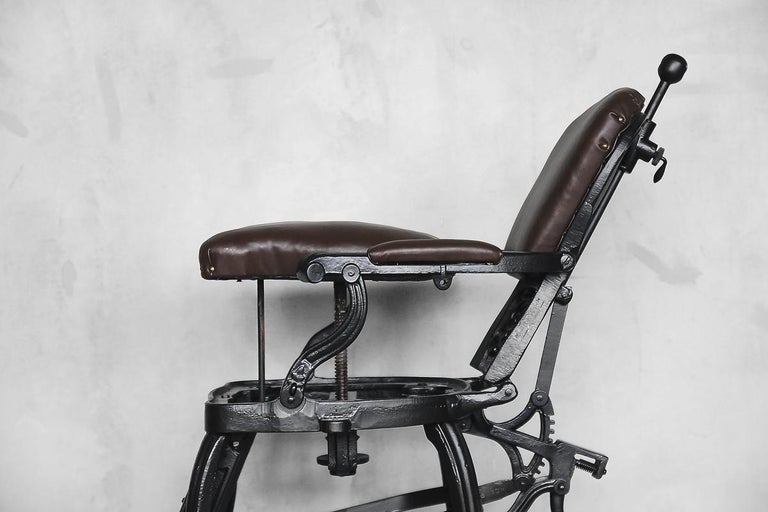 Antique Industrial Empire Openwork Adjustable Barber's Chair, 1900s In Good Condition For Sale In Warsaw, PL