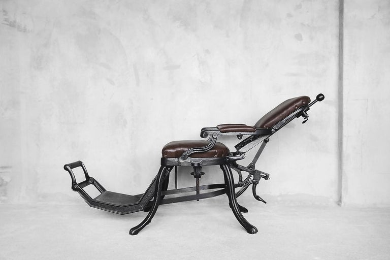 Early 20th Century Antique Industrial Empire Openwork Adjustable Barber's Chair, 1900s For Sale