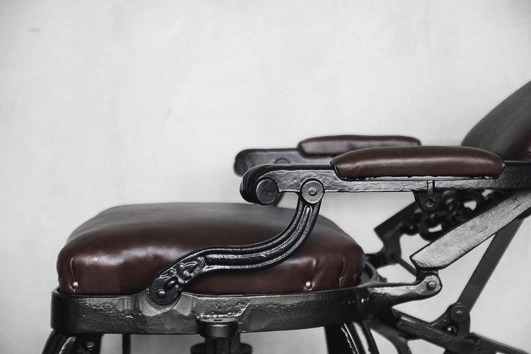 Metal Antique Industrial Empire Openwork Adjustable Barber's Chair, 1900s For Sale