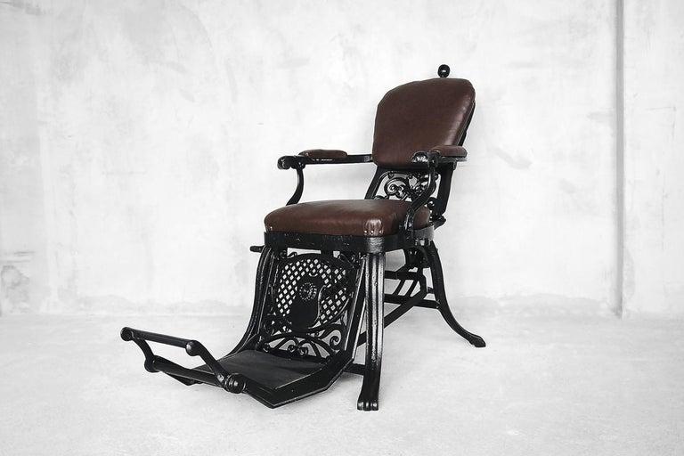 Antique Industrial Empire Openwork Adjustable Barber's Chair, 1900s For Sale 2