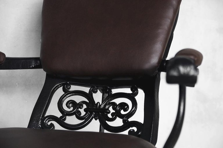 Antique Industrial Empire Openwork Adjustable Barber's Chair, 1900s For Sale 3