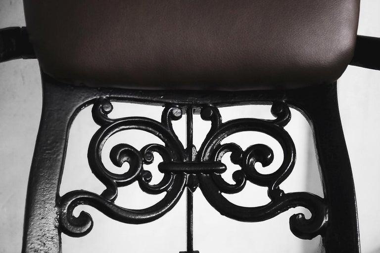 Antique Industrial Empire Openwork Adjustable Barber's Chair, 1900s For Sale 4