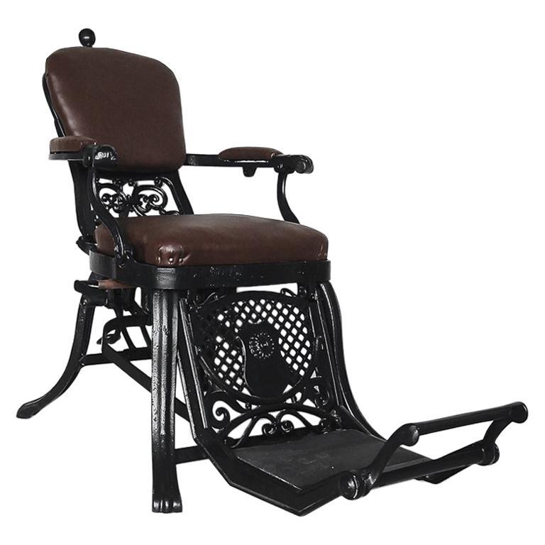 Antique Industrial Empire Openwork Adjustable Barber's Chair, 1900s For Sale