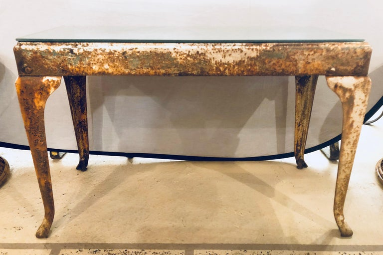 Antique Industrial End or Side Table with Mirror Top In Distressed Condition For Sale In Stamford, CT